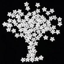 150 Stück Schneeflocken Knopf Weihnachten Weiß Holz Knopf mit 2 Löchern für Scrapbooking Handwerk und Nähen