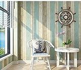 Lzhenjiang Wandbilder Nicht Selbstklebende Mediterrane Vertikal Gestreifte Tapete Vlies Wohnzimmer Schlafzimmer Grün Hintergrund Tapete Vertikalen Balken Hellblau, Blau Gelben Streifen