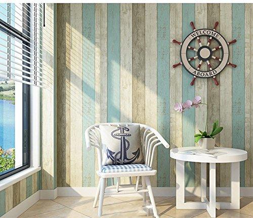 HUANGYAHUI Modernes, Minimalistisches Mediterrane Non-Woven Stoff, Vertikale Streifen, Tapeten, Wohnzimmer, Schlafzimmer, Arbeitszimmer, Tv, Wand, Wasserfeste Tapeten, Blau Gelben Streifen