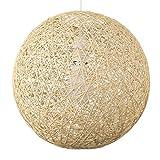 MiniSun – Mittelgroßer, moderner und cremefarbiger Lampenschirm im Kugelform aus Korb – für Hänge- und Pendelleuchte