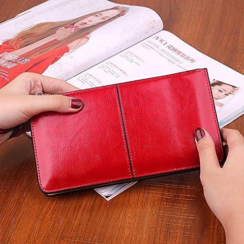 Signore con cerniera portafoglio in pelle multicolore di pochette borsa Lady in pelle giacca grande capacit¨¤ , red