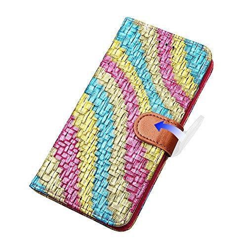 """Wallet Case Hülle für iPhone 7 Plus, xhorizon FLK Weinlese Retro Bunter Regenbogen Leder Brieftasche Fall Wallet Case Mit Perfektion Prime Design für iPhone 7 plus [5.5""""] Rose"""