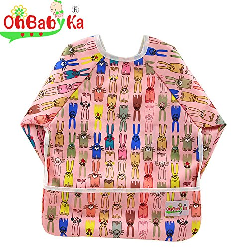 Ohbabyka Wasserdichtes Lätzchen mit Ärmeln und einer Tasche, für Babys von 6 bis 24 Monaten. (Tuch Lange Ärmel)