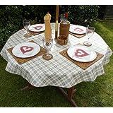 139,7 cm (1,4 m) redondo PVC/vinilo mantel - gris y beige de corazón del orificio para sombrilla