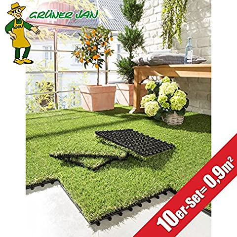 10er-Set Kunstrasen-Fliesen Terrassenfliesen Bodenfliesen Balkon-Teppich Rasen (Teppich Für Balkon)