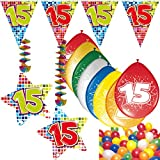 Carpeta 54-Teiliges Partydeko Set * Zahl 15 * für Kindergeburtstag Oder 15. Geburtstag mit Girlande, Rotorspiralen, Luftschlangen und Vielen Luftballons
