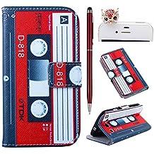 Felfy Vintage Magnetic Tape PU Cuero Billetera Funda Flip Carcasa Para Samsung Galaxy S3 i9300 + 1x Rojo Búho Enchufe del Polvo + 1x Rojo Lápiz Táctil