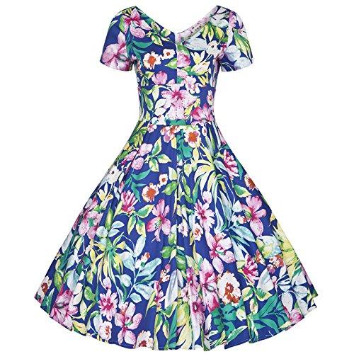 Damen Retro Satin Baumwolle Blumen Drucken V-Kragen Schlinge Schlank Partykleider Ballettröckchen Kleider Blau