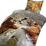 2 tlg Bettwäsche 135 x 200 cm Baumwolle Tiger braun Premiumdruck 3D Garnitur