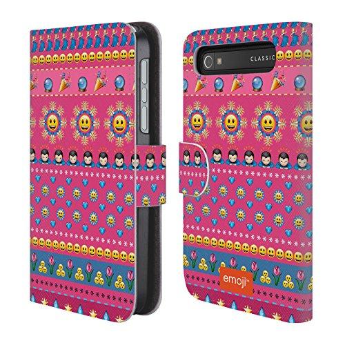 Offizielle Emoji Glücklich Gesichter Drucken Brieftasche Handyhülle aus Leder für BlackBerry Classic Q20 (Gesicht Classic Glückliches)