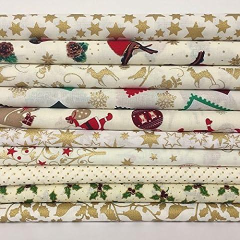 Always Knitting & Sewing - 10 Piece Christmas Cream mix, 100% cotton fabric, small piece fabric bundle, size; 25cm x