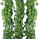 Pianta rampicante finta, 12 fili x 24 m (80 ft), edera rampicante, foglie verdi in seta, decorazione da interni ed esterni (casa, ufficio,cucina,balaustra, giardino, muro) per matrimonio