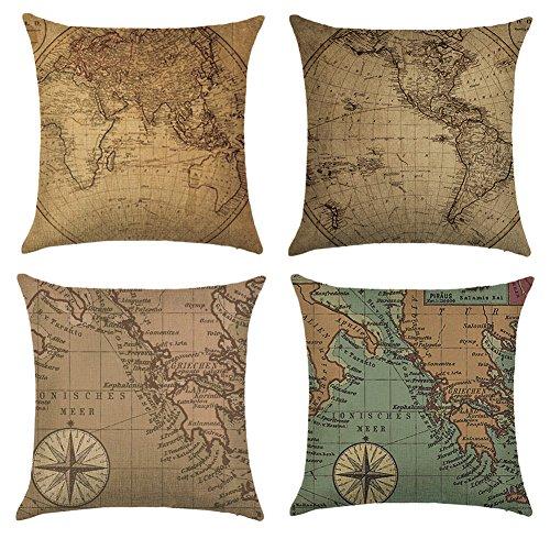 Aipark 4 pcs 45 x 45 cm Fundas de Almohadas Decorativas Fundas de Cojín Mapa del Mundo Camas Chambres...