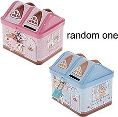 NF&E Piggy Bank House Coin Bank Tin Box Money Box Frist Saving Box Include Lock and Keys for Kids Saving Fun