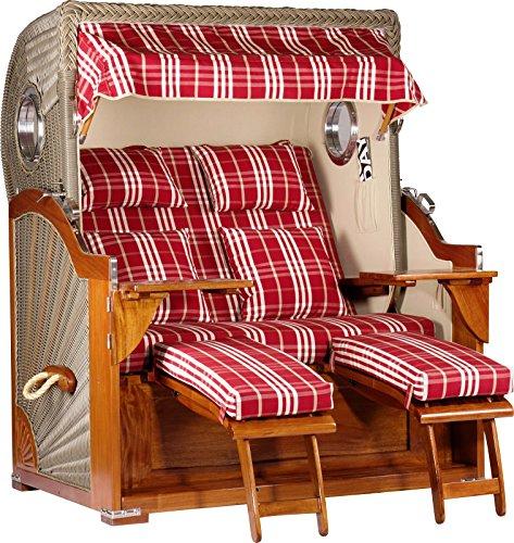 foolonli Strandkorb Luxus 2,5 Sitzer aufgebaut Rot/Weiß Kariert mit Bullauge Mahagoni Holz XXL