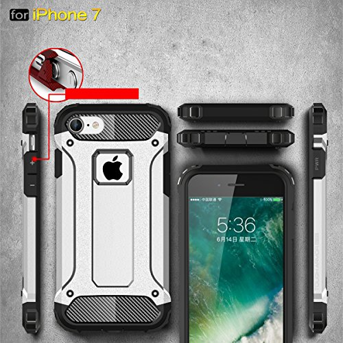 Coque iPhone 7, Forhouse [Ultra-Ajusté] Full Body Protection Double Couche Coque Doux Ultra Mince Svelte TPU Heavy Duty Dur PC 2 in 1 Hybride Durable Brillant Antidérapant Antichoc Impact Protection d Argent