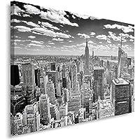 Feeby Frames Cuadro en Lienzo, Cuadro Impresión, Cuadro Decoración, Canvas 80x120 cm, Nueva York PANORAME, Blanco Y Negro