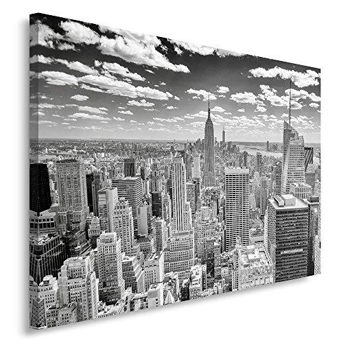 Feeby frames quadro pannelli, pannello singolo, quadro su tela, stampa artistica, canvas 80x120 cm, new york panoramica, bianco e nero