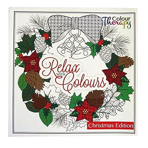 Colouring Therapy - Noël Livre de Coloriage Adulte - 60 Dessins à Colorier - Taille 210mm x 210mm