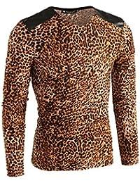 Allegra K Men Long-sleeve Leopard Shirt Beige Brown S