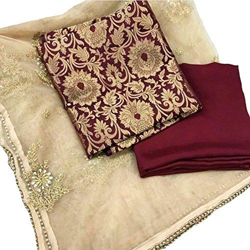 Brocade Self Design UStitched Straight Suit Dress Material (Mehroon, Golden)