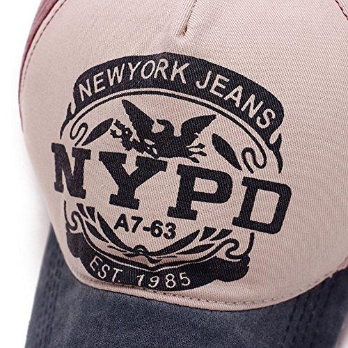 Hualing Hommes et Femmes Printemps ¨¦t¨¦ Casquette de Baseball Coton Coton Shade Outdoor Hat Lac bleu avec de la past¨¨que rouge