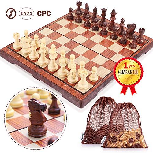 Peradix Schachspiel mit Aufbewahrungsbeutel Magnetischem Einklappbar Deluxe Schachbrett Schach für Kinder ab 6 Jahre und Erwachsene, aus WPC (35*30cm Braun)