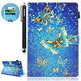 HUDDU Gold Schmetterling Muster Blau Schutzhülle Huawei MediaPad M5 10.8 Hülle Flip Tasche Leder Smart Case Lightweight Cover Kartenfach Lederhülle für Huawei MediaPad M5 10.8 Pro Tablette Niedlich