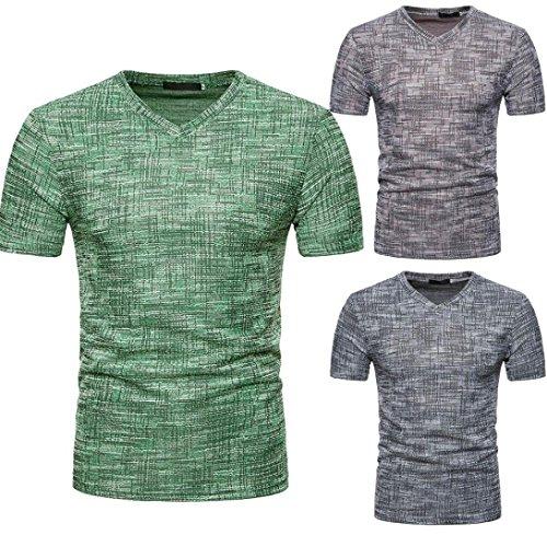 T-Shirt à Col en V, Malloom Hommes Été Casual SOID Hole Manches Courtes