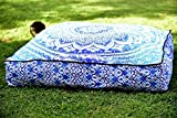 Aakriti Gallery Beautiful Mandala Floor Square Pillowcase Pillow Meditation Cushion Seating Throw Cover Decorative Bohemian Boho Indian Cover Only (35 inch/89 cms) (Blue Ombre)