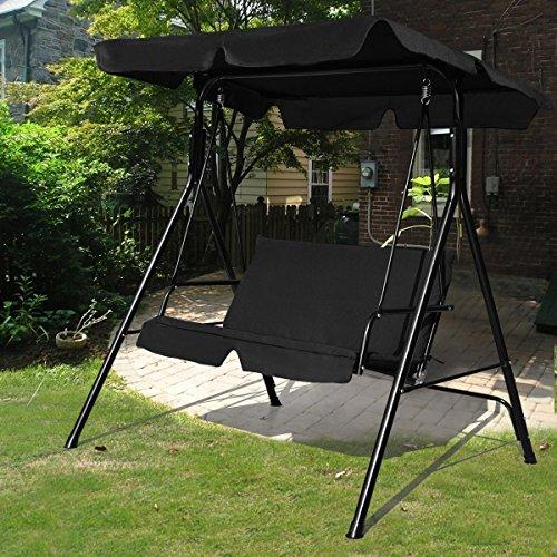 Hollywoodschaukel Schaukel Gartenschaukel Gartenliege Gartenbank 2-Sitzer mit Sonnendach - 3
