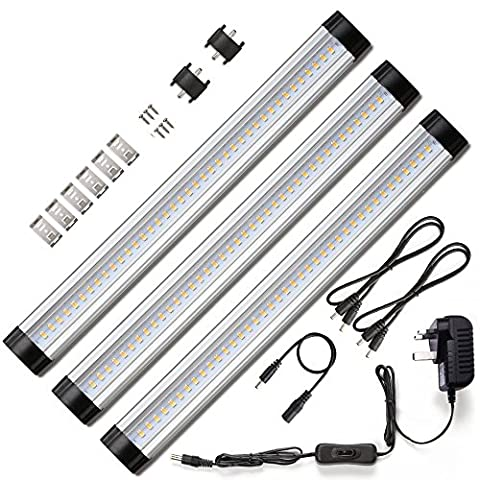 Ustellar LED Under Cabinet Lighting 3 Panel Kit, 12W Total, 12 V DC, 900lm, 30cm Under Counter Lighting, Closet Light LED Light Bar, 24W Fluorescent Tube Equivalent, All Accessories Included, 3000K Warm