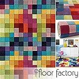 Tapis Moderne en Laine Festival multicolore 120x170cm - 100% pure laine vierge en couleurs vives...