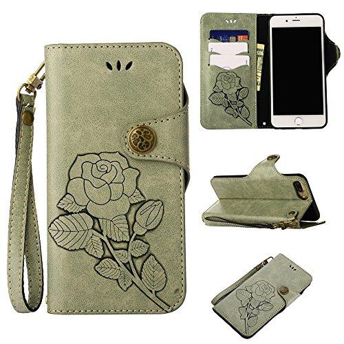 YHUISEN iPhone 6 Plus / 6S Plus Tasche, Luxus Retro Rose Premium PU Leder Magnetverschluss Flip Wallet Schutzhülle mit Lanyard für iPhone 6 Plus / iPhone 6S Plus ( Color : Light Green ) Light Green