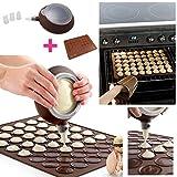 Autek Silikon Backmatte für Macarons für 48 Kreis Schwere Qualität - Antihaft + Dekoration Stift Set
