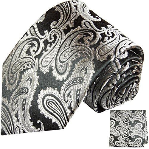 Cravate homme argenté noire paisley ensemble de cravate 2 Pièces (100% Soie Cravate + Mouchoir)