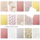 Edle pastellfarbene papeles en diseño bloc de papel DIN A4Floral–tw. brillante en Rose, Beige, Rosa, Oro,...–30A4hojas
