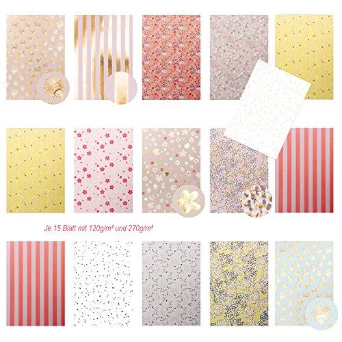 Edle pastellfarbene Motivpapier Bastelpapier Dekorpapier Scrapbooking-Block DIN A4 floral - tw. glänzend in rose, beige, pink, gold. - 30 A4 Blatt zum Basteln mit Dekor und Muster Papier