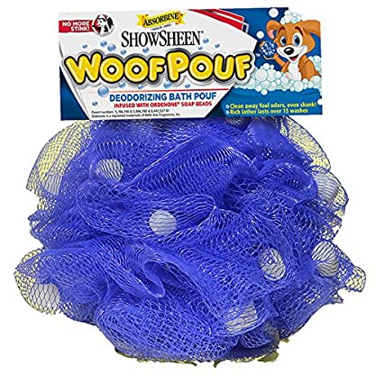 Absorbine Showsheen Dog Woof Deodorizing Bath Pouf Infused with Ordenone Soap/Shampoo Beads, Purple 2
