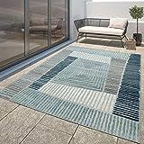 Moderner Outdoor Teppich Wetterfest Innen & Außenbereich Geometrisch Türkis Blau, Größe:200x290 cm