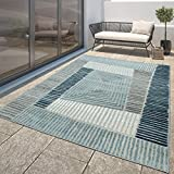 TT Home Alfombra Moderna Resistente Exterior Interior Diseño Geométrico Turquesa Azul, Größe:60x100 cm