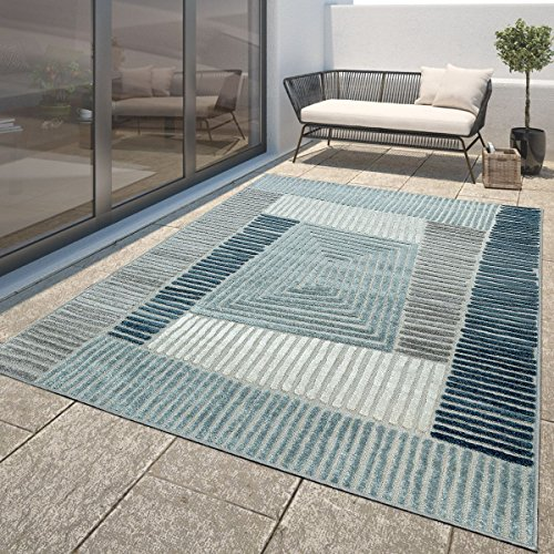 Moderner Outdoor Teppich Wetterfest Innen & Außenbereich Geometrisch Türkis Blau, Größe:200x290 cm - Blauer Teppich Outdoor Teppiche