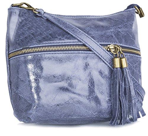 Big Handbag Shop donna vera pelle tasca frontale lunga Tassel Estrattore Borsa Denim Blue