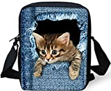 FOR U DESIGNS New Cute 3D Cat Messenger bag Single Shoulder Bag Schoolbags for Girls Boys Kids Tablet bag (Cat 2)