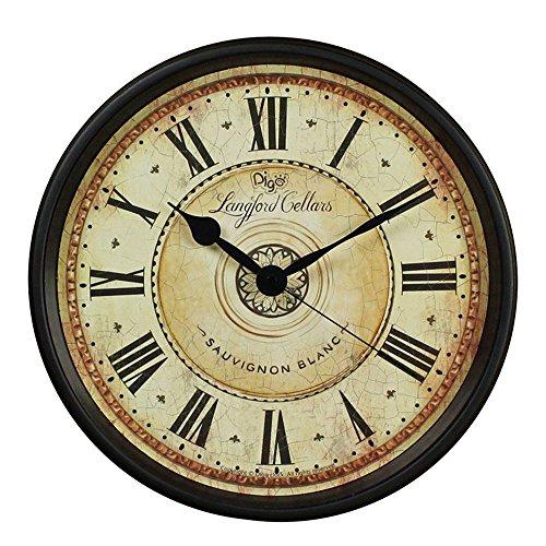 MUTANG Reloj de Pared Retro Europeo Grande Roman NumeralsClock Reloj de Cuarzo Negro silencioso no electrónico Reloj casero Decorativo