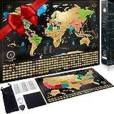 Mappa da grattare Edizione XXL + Cartina degli Stati Uniti da grattare .Include un tubo regalo personalizzato e 2 coloratissime mappe dettagliate