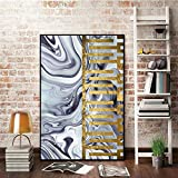 YuanMinglu Wandkunst Leinwand Malerei goldene Blaue Bild Wohnzimmer modernen minimalistischen Plakat und dekorativen Druck rahmenlose Malerei 60x90cm
