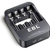 EBL Chargeur de Piles Rechargeables iQuick Super Rapide Renouvelé pour Les AA/AAA Piles Ni-MH avec Port USB et USB C