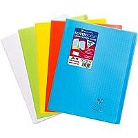 Clairefontaine 984450AMZC - Un lot de 5 cahiers piqués Koverbook 48 pages 24x32 cm 90g grands carreaux, couvertures…