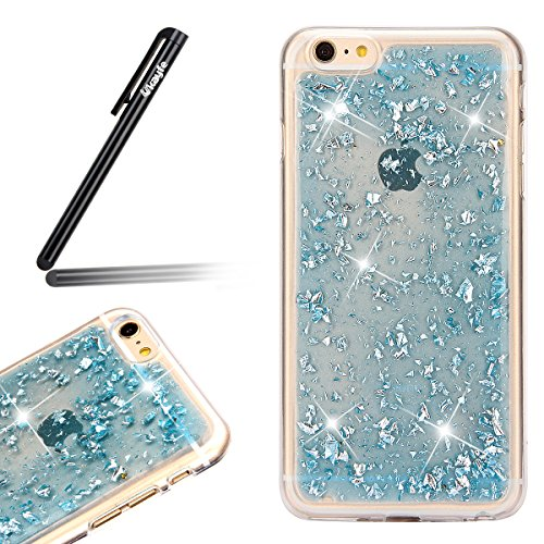 Coque Etui pour Apple iPhone 6 Plus/6S Plus, iPhone 6S Plus Coque Silicone Cerise Motif Etui, iPhone 6 Coque en Silicone Ultra-Mince Etui Housse avec Bling Diamant,iPhone 6 Plus/ 6S Plus Silicone Case Glitter-Bleu